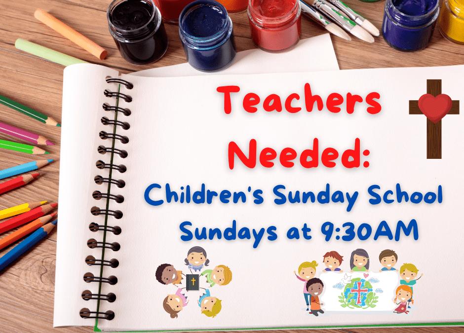 FBC Kids Children's Sunday School – Looking for Teachers!